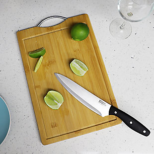 "Home Accents 8"" x 12""  Bamboo Cutting Board with Juice Groove and Stainless Steel Handle, Natural Wood, rollover"
