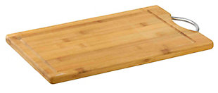 "Home Accents 8"" x 12""  Bamboo Cutting Board with Juice Groove and Stainless Steel Handle, Natural Wood, large"