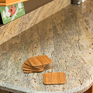 """Home Accents 4"""" Bamboo Coaster Set, (Pack of 6), Natural, , rollover"""