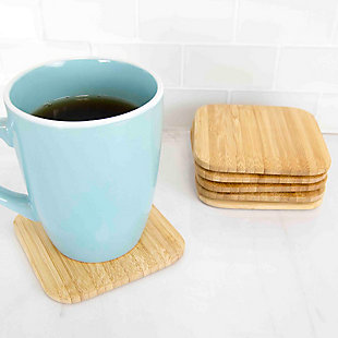 """Home Accents 4"""" Bamboo Coaster Set, (Pack of 6), Natural, , large"""