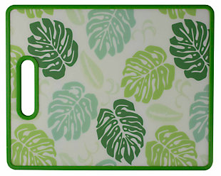 "Home Accents Coastal Leaves 8"" x 12"" Plastic Cutting Board, Green, Green, rollover"
