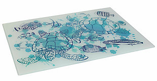 "Home Accents Coastal Collection Printed Tempered Glass 12"" x 16"" Cutting Board, Turtles, , large"
