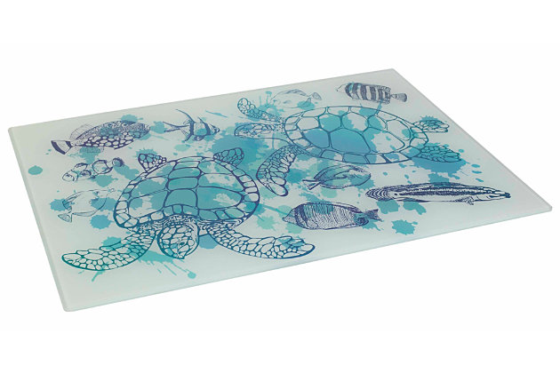 """Home Accents Coastal Collection Printed Tempered Glass 12"""" x 16"""" Cutting Board, Turtles, , large"""