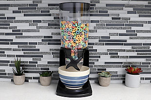 Home Accents 7.5 Oz. Capacity Plastic Single Canister Cereal Dispenser, Black, , rollover
