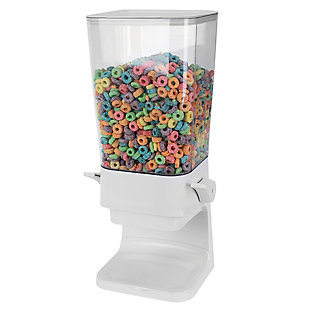 Home Accents Large Capacity Air-Tight Easy Pour Countertop Plastic Cereal Dispenser, White, , large
