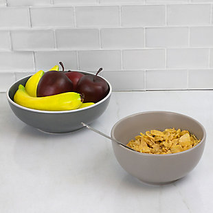 Home Accents Ceramic Cereal Bowl, Gray, Grey, large