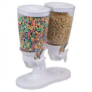 Home Accents Double Cereal Dispenser, White, , large
