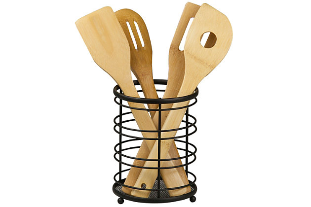 Home Accents Wire Collection Cutlery Holder with Mesh Bottom and Non-Skid Feet, Black, , large