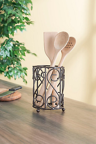 Home Accents Scroll Collection Steel Cutlery Holder with Mesh Bottom and Non-Skid Feet, Bronze, , rollover