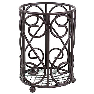 Home Accents Scroll Collection Steel Cutlery Holder with Mesh Bottom and Non-Skid Feet, Bronze, , large