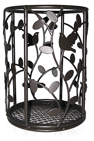 Home Accents Birdsong Collection Steel Free-Standing Round Cutlery Holder, Dark Brown, , large