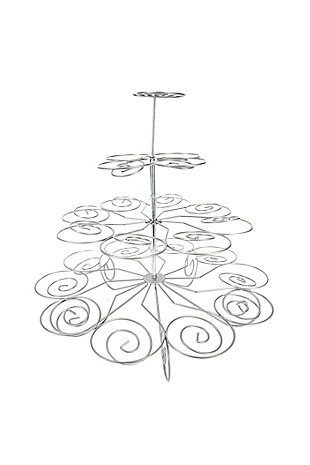 Home Accents 3 Tier Steel 23 Cupcake Holder, Silver, , large