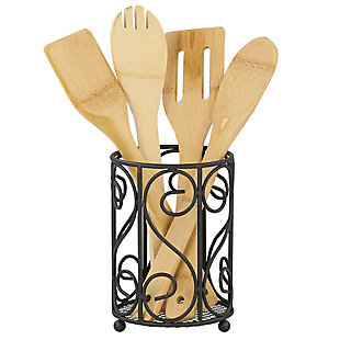 Home Accents Scroll Collection Steel Cutlery Holder with Mesh Bottom and Non-Skid Feet, Black, , large