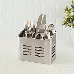 Home Accents Dual Compartment Stainless Steel Cutlery Holder, , rollover