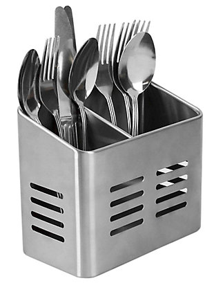 Home Accents Dual Compartment Stainless Steel Cutlery Holder, , large