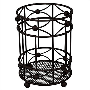 Home Accents Arbor Collection Cutlery Holder with Mesh Bottom and Non-Skid Feet, Oil-Rubbed Bronze, , large