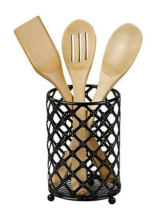 Home Accents Black Lattice Cutlery Holder, , large