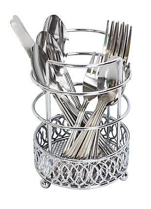 Home Accents Infinity Collection Cutlery Holder, Chrome, , large