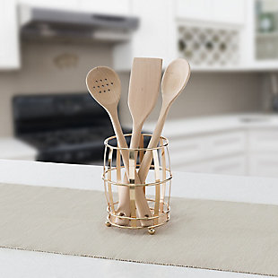 Home Accents Lyon Cutlery Holder with Mesh Bottom and Non-Skid Feet, Rose Gold, , rollover