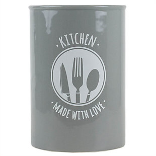 Home Accents Made with Love Ceramic Utensil Crock, Gray, Grey, large