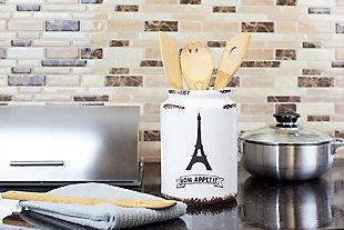 Home Accents Bon Apetit Eifel Tower Ceramic Utensil Crock, White, , rollover