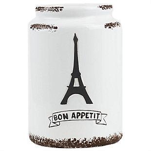 Home Accents Bon Apetit Eifel Tower Ceramic Utensil Crock, White, , large