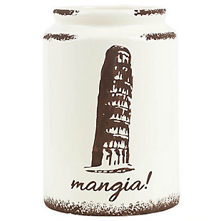 Home Accents Mangia Leaning Tower of Pisa Ceramic Utensil Crock, Ivory, , large