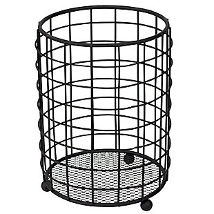 Home Accents Grid Free-Standing Cutlery Holder with Mesh Bottom, Black, , large