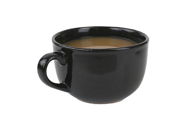 Home Accents 22 oz. Jumbo Ceramic Mug, Black, Black, large