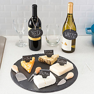 Home Accents 12 Piece Slate Cheese Board Set, Black, , rollover