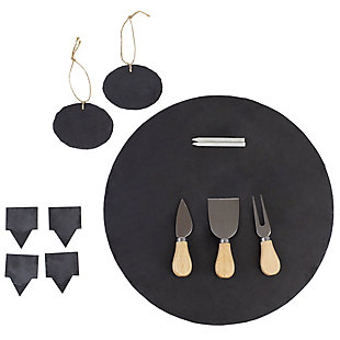 Home Accents 12 Piece Slate Cheese Board Set, Black, , large