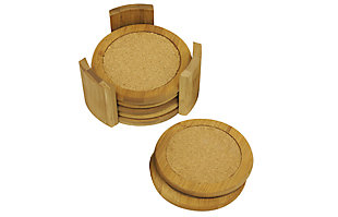 """Home Accents 4.5"""" Bamboo Coaster Set, (Pack of 6) with Holder, Natural, , large"""