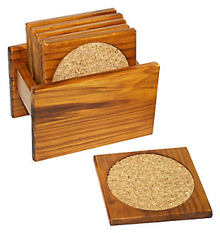 Home Accents Pine Wood Square Coasters with Absorbent Cork Insert, (Set of 6), and Holder, , rollover