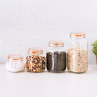 Home Accents 4 Piece Glass Canister Set, Clear, , rollover