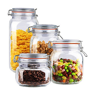 Home Accents 4 Piece Glass Canister Set, Clear, , large