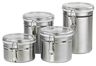 Home Accents 4 Piece Stainless Steel Canister Set, , large