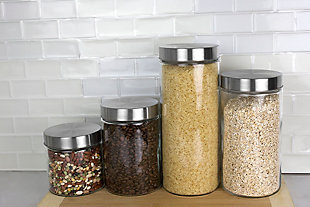 Home Accents 4 Piece Glass Canister Set with Stainless Steel Lids, , rollover