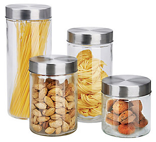 Home Accents 4 Piece Glass Canister Set with Stainless Steel Lids, , large