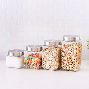 Home Accents 4 Piece Canister Set with Stainless Steel Lids, , rollover