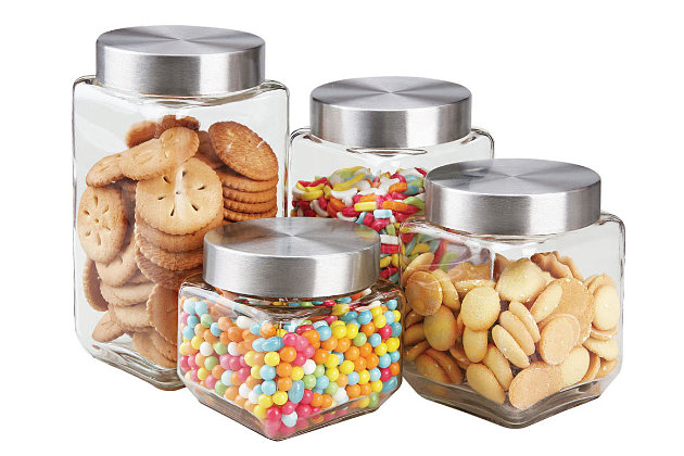 Home Accents 4 Piece Canister Set with Stainless Steel Lids, , large