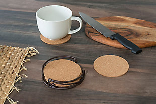 Home Accents Natural Cork 6 Piece Coaster Set with Scroll Collection Steel Holder, , rollover