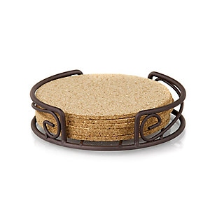 Home Accents Natural Cork 6 Piece Coaster Set with Scroll Collection Steel Holder, , large