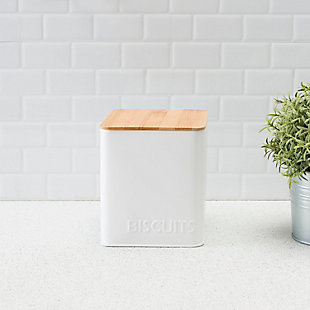 Home Accents Biscuits Tin Canister with Bamboo Top, White, , rollover