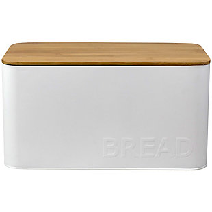 Home Accents Tin Bread Box  with Bamboo Top, White, , large
