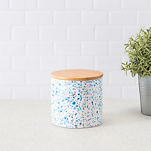 Home Accents Trendy Terrazzo Small Ceramic  Food Storage Canister with Bamboo Silicone Seal  Lid, Blue, , rollover