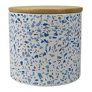 Home Accents Trendy Terrazzo Small Ceramic  Food Storage Canister with Bamboo Silicone Seal  Lid, Blue, , large