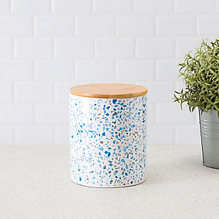 Home Accents Trendy Terrazzo Medium Ceramic Food Storage Canister with Bamboo Silicone Sealing  Lid, Blue, , rollover