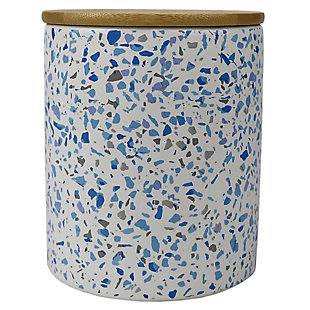 Home Accents Trendy Terrazzo Medium Ceramic Food Storage Canister with Bamboo Silicone Sealing  Lid, Blue, , large