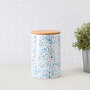 Home Accents Trendy Terrazzo Large Ceramic Food Storage Canister with Bamboo Silicone Sealing Lid, Blue, , rollover