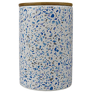 Home Accents Trendy Terrazzo Large Ceramic Food Storage Canister with Bamboo Silicone Sealing Lid, Blue, , large